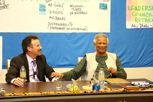 LR and Muhammad Yunus at Microcredit Summit in Abu Dhabi