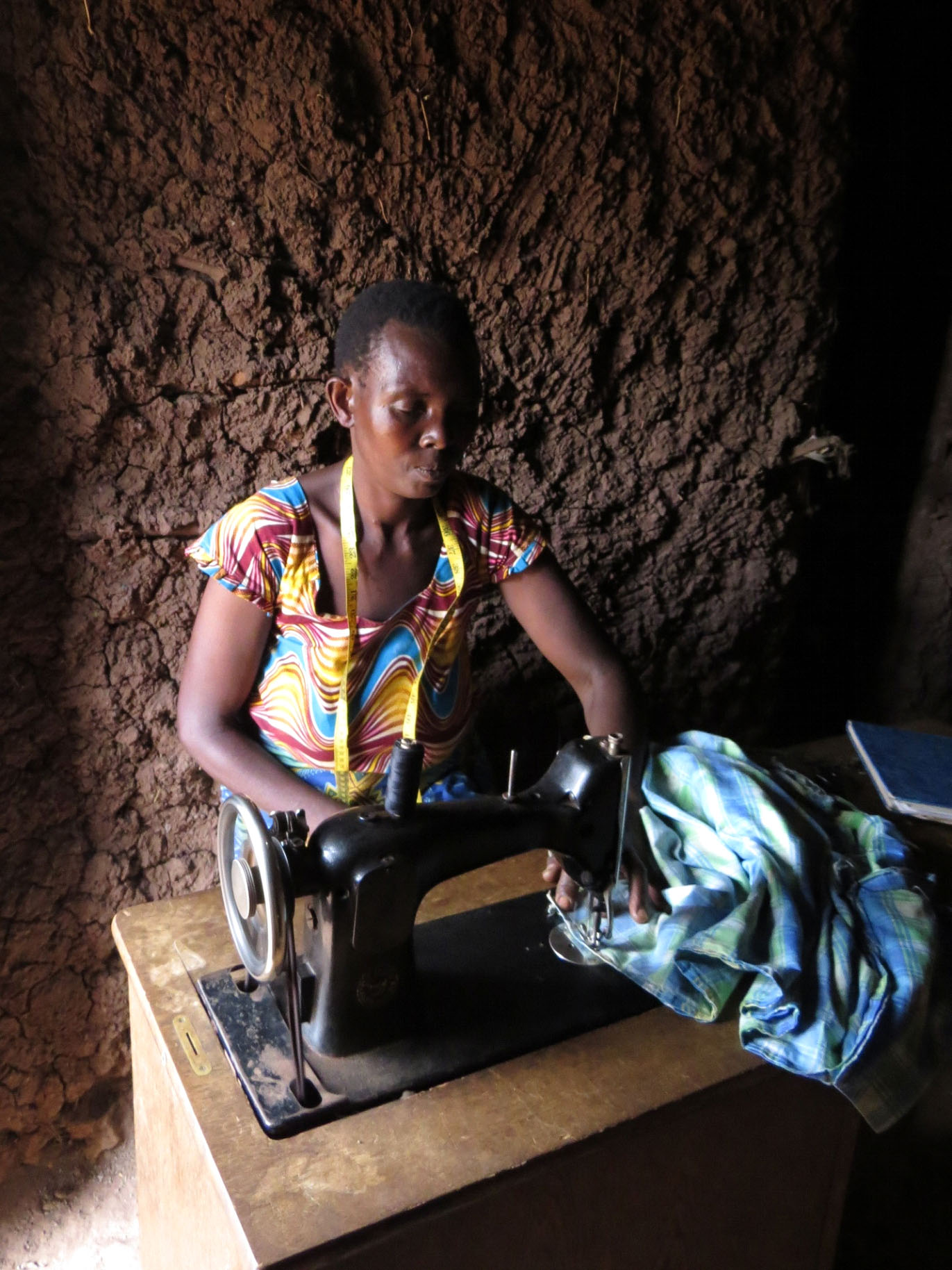 Lient of Concern Worldwide sewing clothes in Rwanda