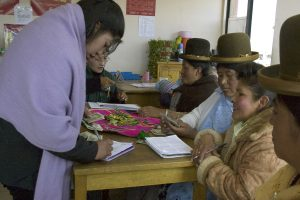 Pro Mujer group members making payments in Bolivia