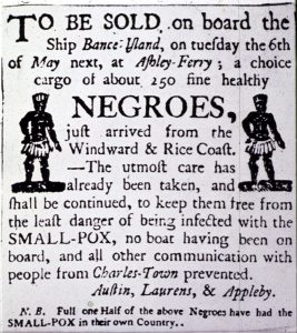 Newspaper ad for slave auction
